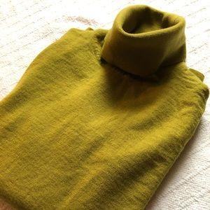 J. Crew Green Merino Wool Turtleneck Sweater